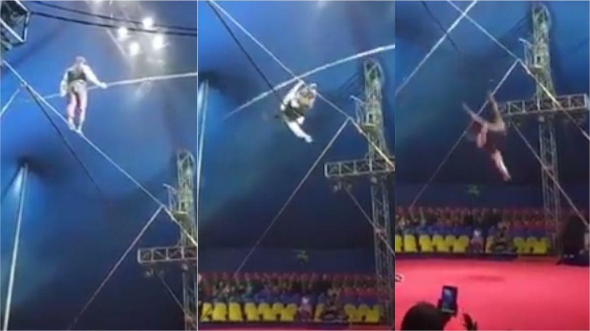 VIDEO: Un equilibrista cayó al vacío ante la mirada aterrada del público