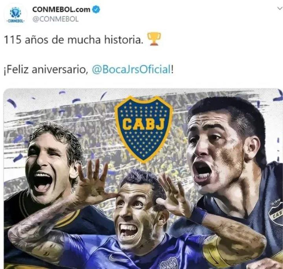 Captura del tuit del error de Conmebol.