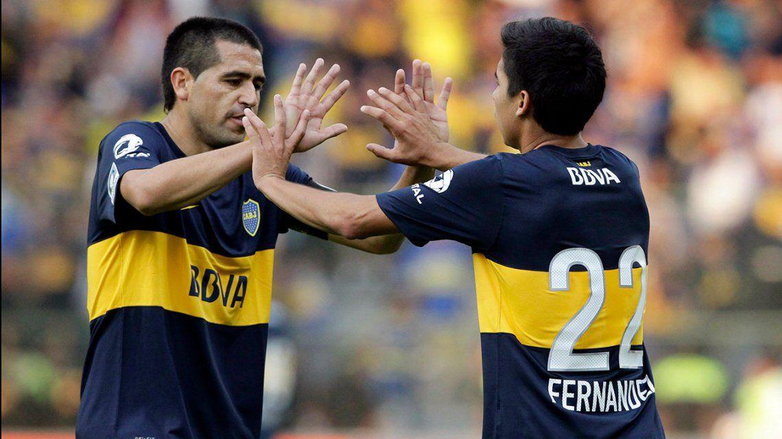 Juan Román Riquelme y Pol Fernández