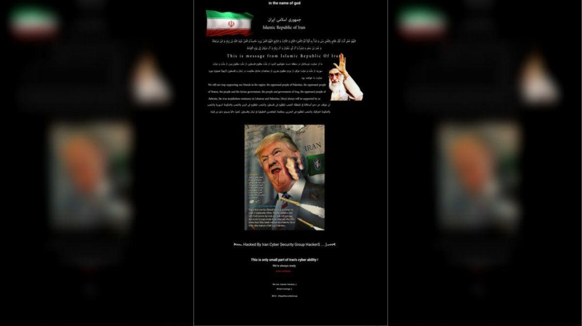 Un presunto grupo iraní hackeó una página web del gobierno de Estados Unidos