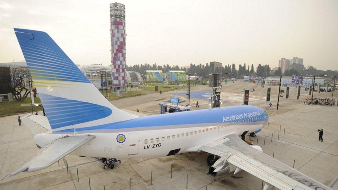 Avión simulador de Aerolíneas Argentinas en Tecnópolis