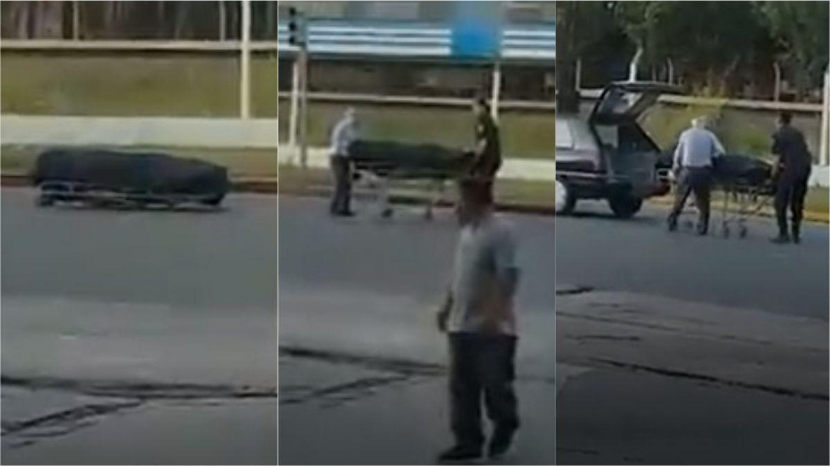 VIDEO: Un cajón se salió del coche fúnebre y quedó tirado en medio del tránsito