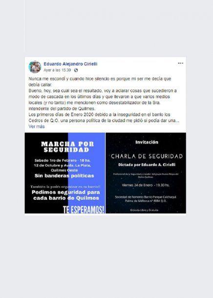 Eduardo Cirielli convoca a la marcha en sus redes sociales
