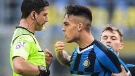 Lautaro Martínez marcó un gol pero se fue expulsado y enojado