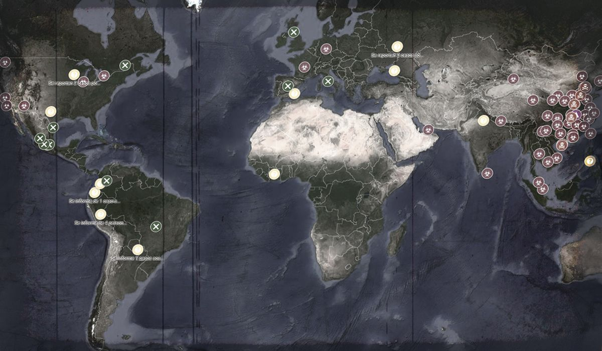 Un mapa en vivo y en tiempo real muestra la expansión del coronavirus en el mundo