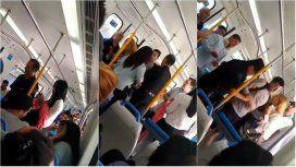 Violenta discusión entre un hombre y una mujer por un perro herido en el tren