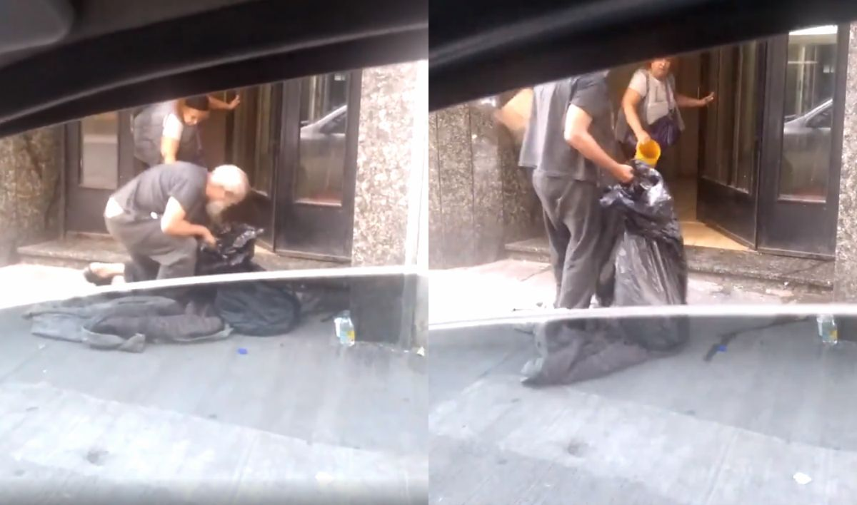 VIDEO Indignante: echó a un indigente del hall de su edificio a baldazos