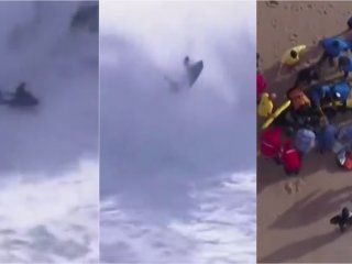 video: panico en portugal por una ola gigante que golpeo a dos hombres en un torneo de surf