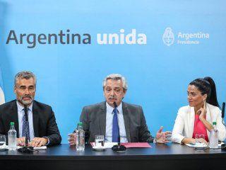 Alejandro Vanoli, Alberto Fernández y Luana Volnovich