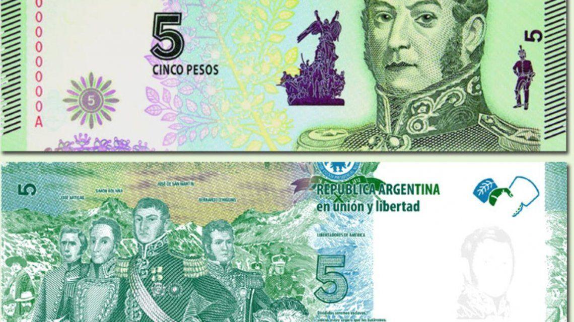 Los billetes de 5 pesos como este