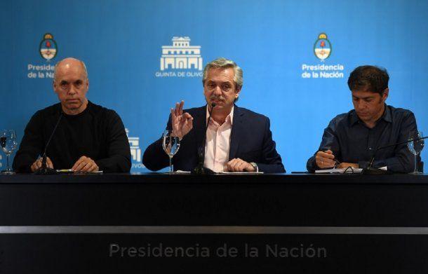 Horacio Rodríguez Larreta de Ciudad, Alberto Fernández de Nación, y Axel Kicillof de Provincia, durante el anuncio de medidas conjuntas ante el avance del coronavirus