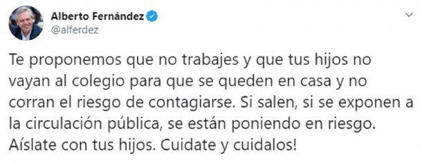 Mensaje de Alberto Fernández a los que no respetan la cuarentena por el coronavirus