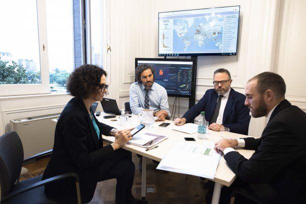 Cecilia Todesca, Santiago Cafiero, Martín Kulfas y Martín Guzmán reunidos: el Gobierno anunció medidas para paliar los efectos de la cuarentena por coronavirus