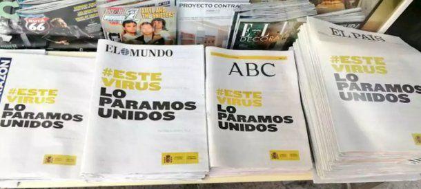 Los diarios de España unificaron sus portadas contra el coronavirus en plena cuarentena total