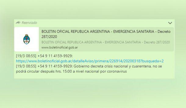 El falso Boletín Oficial indicaba una cuarentena desde el lunes