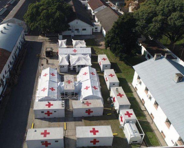 Vista aérea del Hospital Militar Reubicable que se prepara en Campo de Mayo para tratar pacientes con Coronavirus Covid-19