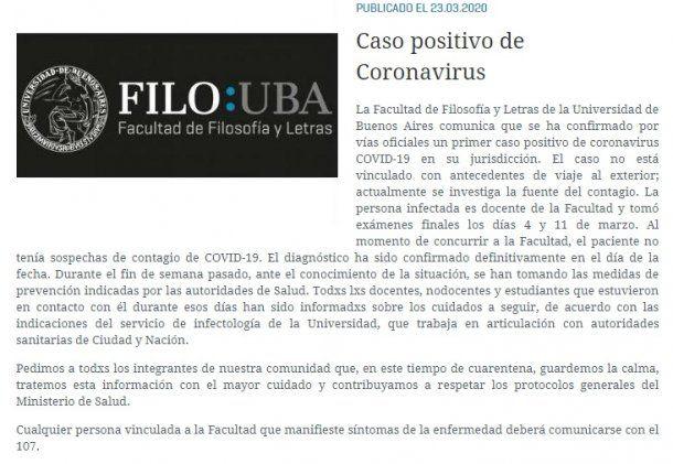 Comunicado de la UBA donde se confirma el caso de coronavirus en un docente