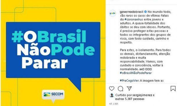 """""""O Brasil nao pode parar"""", el slogan del gobierno de Jair Bolsonaro"""