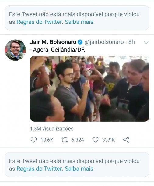 Twitter suspendió la cuenta a de Jair Bolsonaro por dos videos