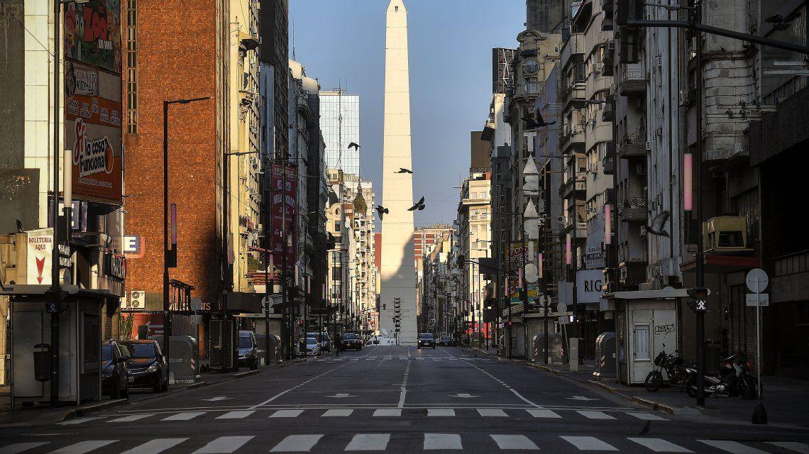 Avenida Corrientes totalmente vacía en medio de la cuarentena total por la pandemia de coronavirus