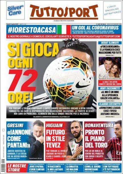 """Tuttosport, diario deportivo de Italia, indicó en su portada que Gonzalo Higuaín tiene """"un futuro al estilo de Tevez"""" deslizando que puede regresar al fútbol argentino para jugar en River"""