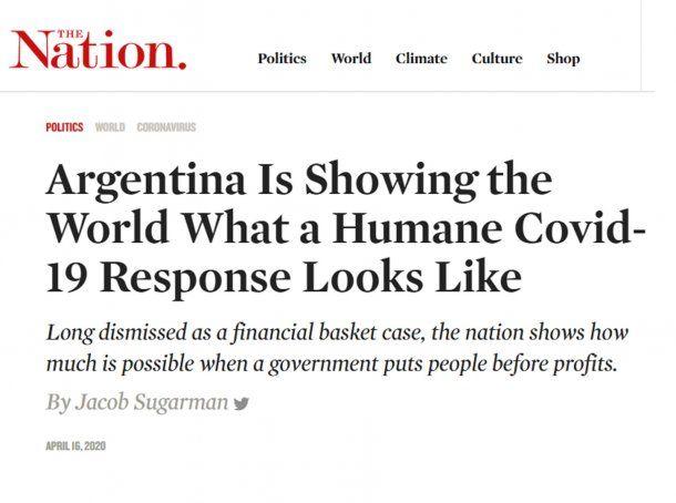 The Nation destaca el plan de Argentina para paliar las consecuencias del coronavirus Covid-19