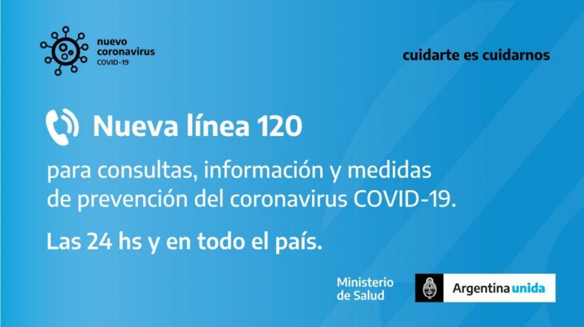 La línea 120 para prevención del coronavirus