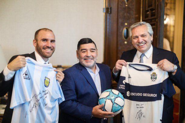 Martín Guzmán, Diego Maradona y Alberto Fernández