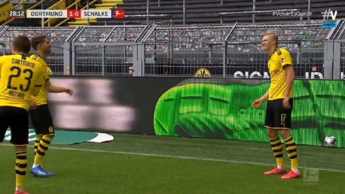 Festejo con distanciamiento en la Bundesliga