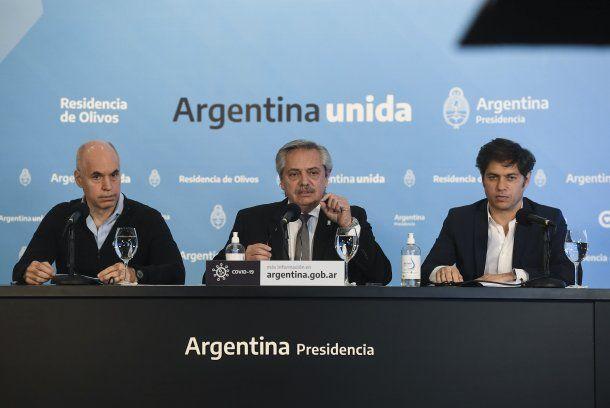 Horacio Rodríguez Larreta, Alberto Fernández y Axel Kicillof durante el anuncio de la extensión de la cuarentena hasta el 7 de junio
