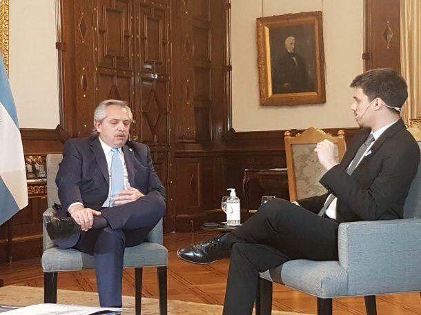 Alberto Fernández con Juan Amorín en una entrevista para C5N
