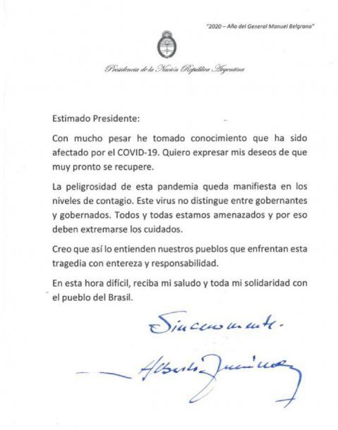 Carta de Alberto Fernández a Jair Bolsonaro luego de que se confirmó que el presidente de Brasil tiene coronavirus