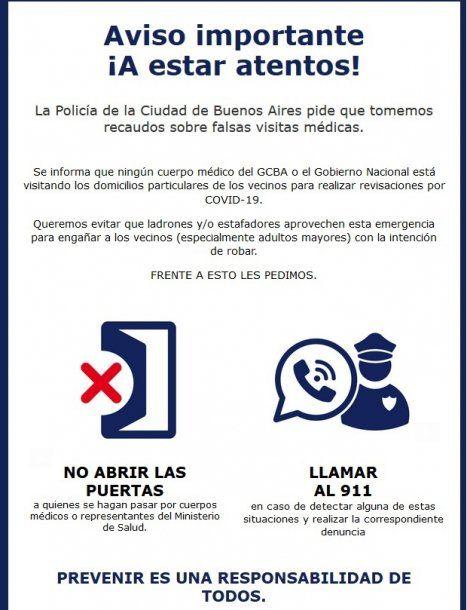 Comunicado de una Administración de Consorcios de la Ciudad de Buenos Aires.
