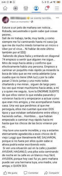 Desde su perfil de Facebook, una chica de La Plata relató un episodio de violencia de género