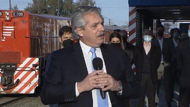 Alberto Fernández durante la inauguración de la estación Villa Rosa. Foto: Télam.