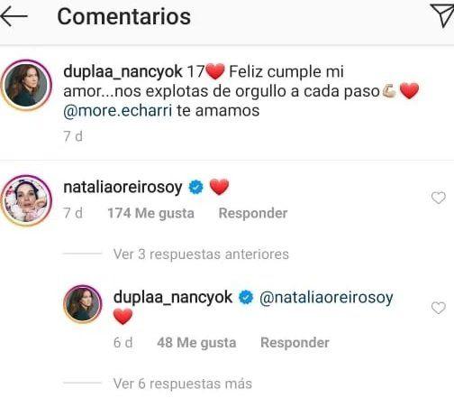 Natalia Oreiro y Nancy Dupláa cruzaron mensajes en Instagram.