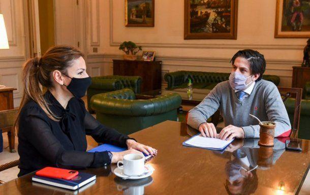 El ministro de Educación de, Nicolás Trotta y la ministra de Educación de la Ciudad, Soledad Acuña. Foto: @trottanico