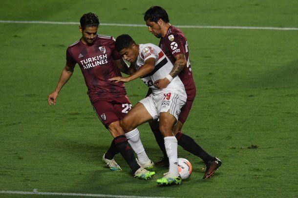 River igualó 2-2 ante San Pablo en el reinicio de la Copa Libertadores.