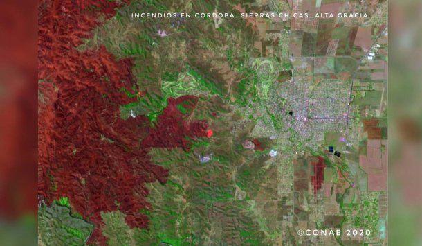 Incedios: una imagen satelita tomada por la CONAE en Córdoba