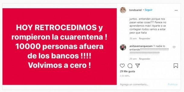 Publicaciones de Ariel Tondo antes de quedar internado en Córdoba.Foto:24con.com.