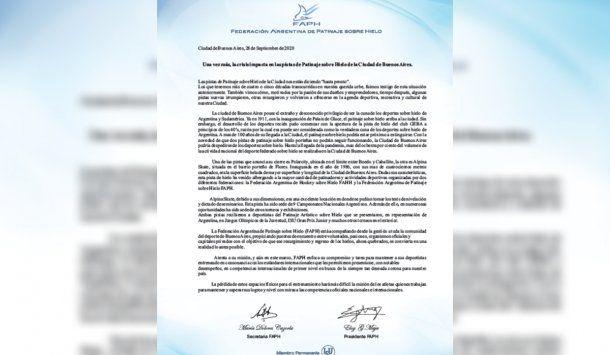 El comunicado de la Federación Argentina de Patinaje sobre Hielo (FAPH)