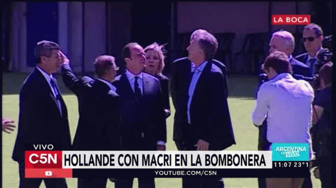 Macri llevó a Hollande a conocer La Bombonera