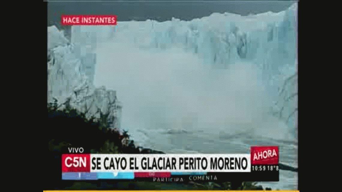A las 10.55, se cayó el puente del glaciar Perito Moreno