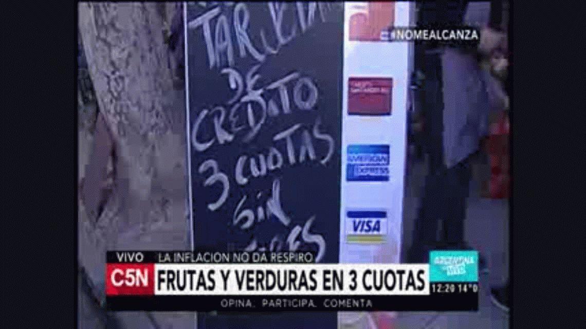 La inflación no da tregua y ahora venden frutas y verduras en 3 cuotas sin interés