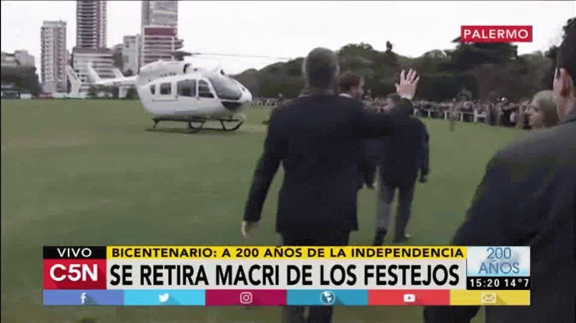 Macri estuvo una hora en el Campo de Polo y se retiró en helicóptero
