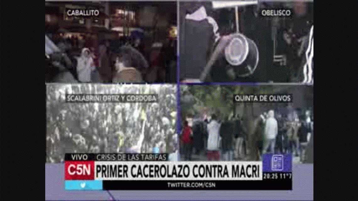 Fue masivo el primer cacerolazo contra el gobierno de Mauricio Macri y el tarifazo