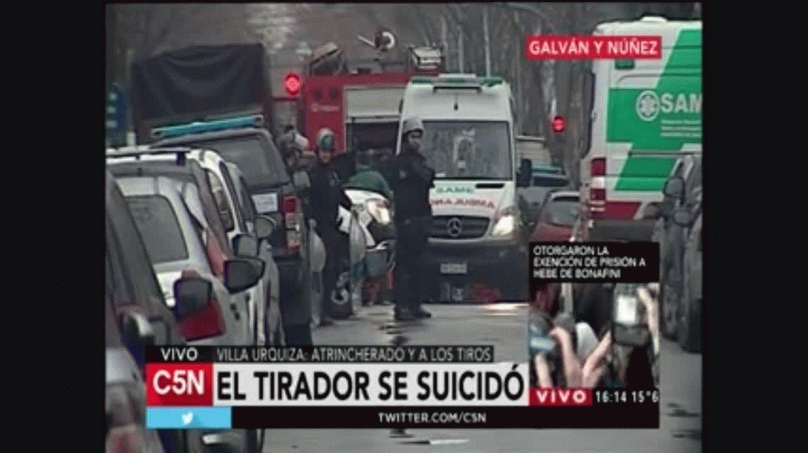Trágico final: el tirador atrincherado en Villa Urquiza se suicidó