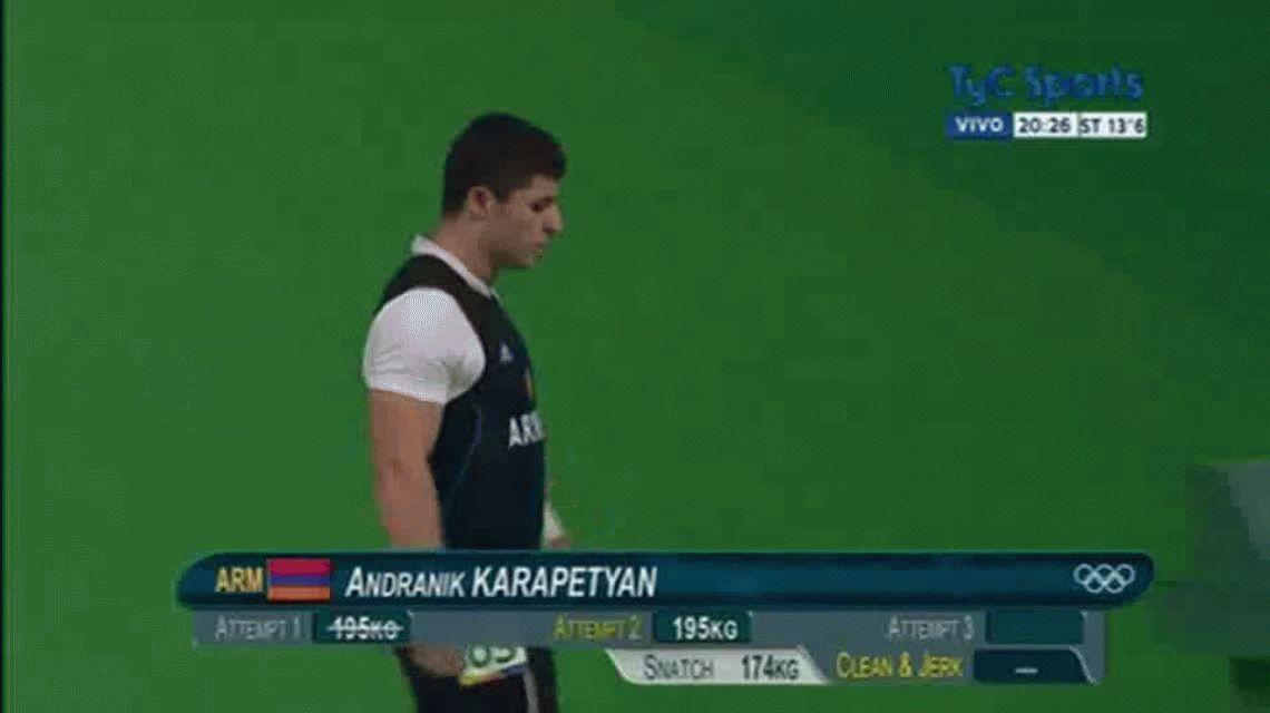 Lesión olímpica: un armenio se sacó el codo cuando intentaba levantar 195 kilos