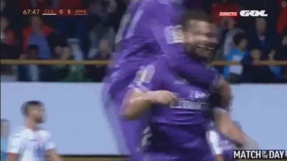 ¡Ni él lo puede creer! Un defensor del Real Madrid convirtió un gol de antología