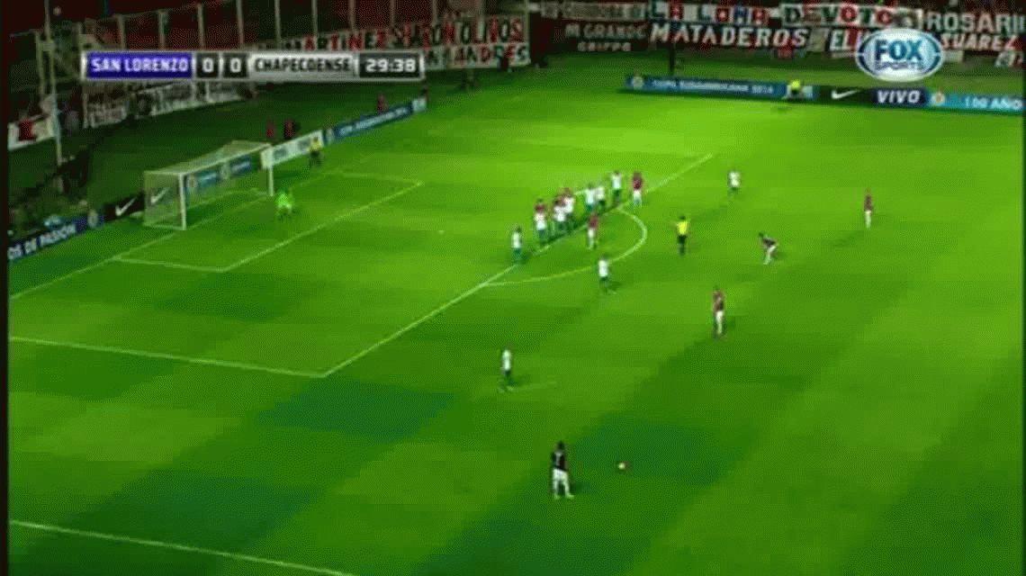Marcos Angeleri anotó el primer gol de San Lorenzo ante Chapecoense por la Copa Sudamericana